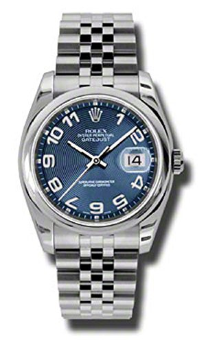 Rolex Oyster Perpetual Datejust 36mm Stainless Steel Case, Domed Bezel, Blue Concentric Circle Dial, Arabic Numerals And Jubilee Bracelet.