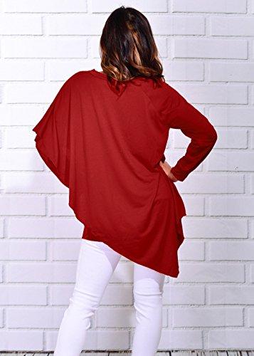 Col Jours Unie Femmes Tops Rouge Irregulier Chemisiers Automne Smalltile T Couleur Les Shirts Jumpers Manches Fashion et Hauts de Tees Hiver V Casual Tous Longues qFxAB7A4w