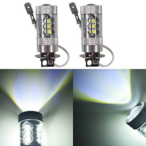 2pcs H3 80W Super Bright LED 6000K White Fog Tail Turn DRL Head Car Light Lamp Bulb ()