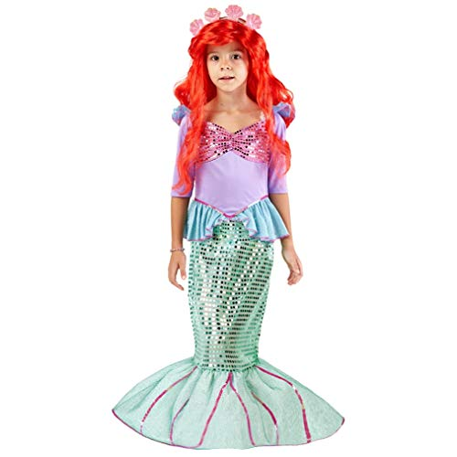 Spooktacular Creations Deluxe Mermaid Costume Set with Red Wig and Headband (Small (5-7)) -