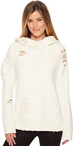 Alo Women's Ripped Hoodie Pristine/Distressed Holes Small Street Chic Women Apparel Retail