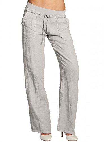 CASPAR KHS025 Damen Leinenhose, Farbe:hell grau;Größe:40 L UK12 US10