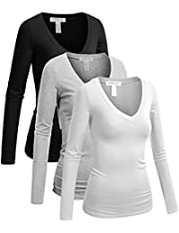 Women's Casual Basic V-Neck Tshirt Long Sleeves Tee Top - Junior and Plus Sizes