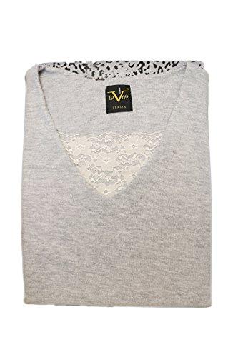 Versace 19.69 - Pigiama 08-250V per donna, 100% cotone interlock pettinato, manica lunga - GRIGIO MEL. - M
