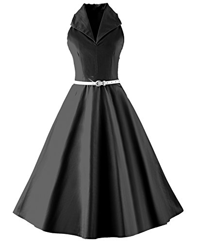 Tecrio Vintage 50s 60s Audrey Hepburn Sleeveless V-Neck Prom Party Swing Dress S Black -