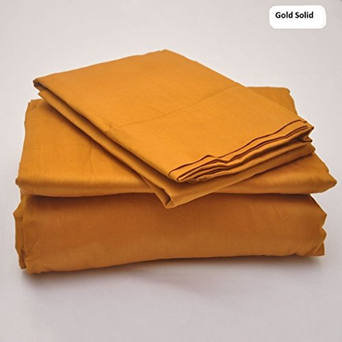 Rajlinen 100% Cotton Bed Sheet Set - 300 Thread Count Sateen - 15 inch Deep Pocket - Quality Luxury Bedding - 4 Piece (Gold Solid - Solid Pr Gold