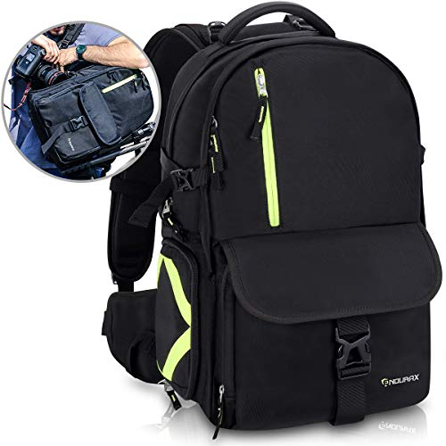 "Endurax Camera Backpack Waterproof with Quick Access Dual Compartments Fit 2 DSLR Cameras 4-6 Lenses and 15.6"" Laptop for Outdoor Hiking"