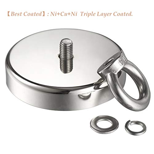Wukong 837LBS(380KG) Pulling Force Super Powerful N52 Round Neodymium Magnet with Countersunk Hole and Eyebolt Diameter 3.54''(90mm) X Thick 0.70