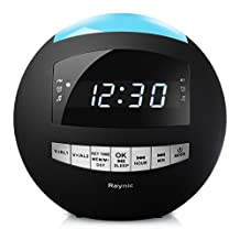 Raynic Bluetooth Digital Alarm Clock Radio AM/FM with Dual USB Charging Ports and Dimmable Night Light