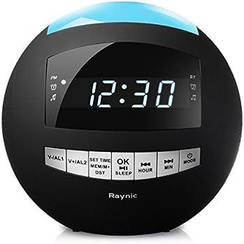 Raynic Bluetooth Alarm Clock Radio & Dual USB Charging Ports