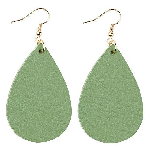 Leather Leaf Green - GELVTIC Leather Dangle Earrings Genuine Leather Teardrop Petal Drop Lightweight Gift for Women Girls (Dark See Green 1)