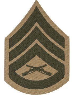 USMC Chevron Green on Khaki (Pair) (Male, E-6 Staff Sergeant) (Marine Corps Chevron)