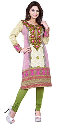 Womens Long India Tunic Top Kurti Printed Blouse Indian Clothing – S…Bust 34 inches, Green