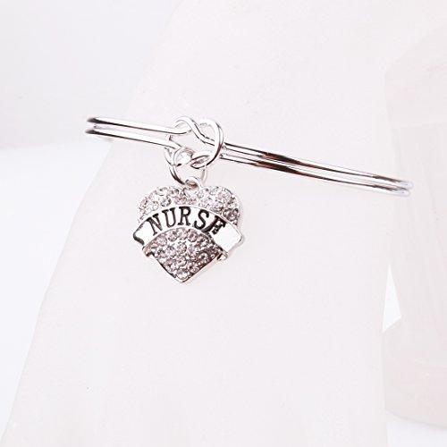 REEBOOO Nurse charm Nurse Gift Love Knot Cuff Bangle Bracelet Inspirational Jewelry Gift for Her (Silver-NURSE) by REEBOOO (Image #3)