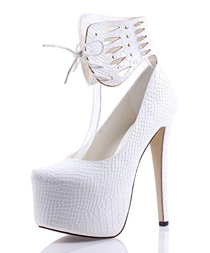 Hot Fashion Lace up Ankle Strap Stilettos Pump Snake Skin Print Platform Womens 6.5