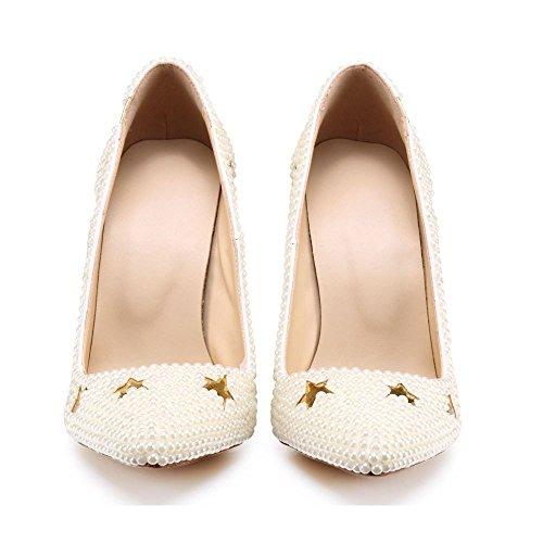 Estrella de Sandalias Ximu CM Tacón Blanca Perla Boda Verano White Cinco Bomba Zapatos de de Aguja 10 Puntas Nueva qqF01