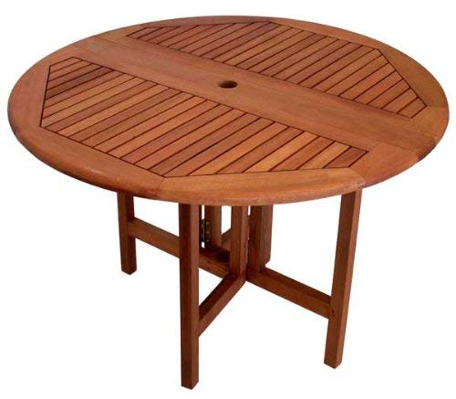 ARBORIA Round Patio Table 42 Inch Diameter Drop Leaf with Outdoor Seating Space for 4