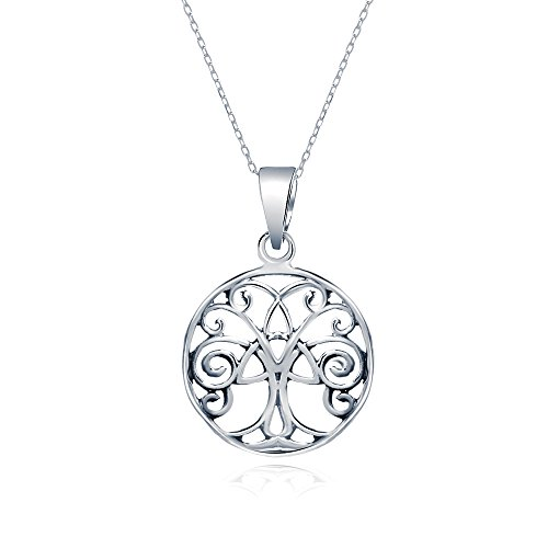 Sterling Silver Tree of Life Necklace Pendant Round Open Cut, 19mm (Homemade Christmas Costume Ideas Men)
