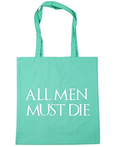 HippoWarehouse All men must die Einkaufstasche Fitnessstudio Strandtasche 42cm x38cm, 10 liter - Mintgrün, One size
