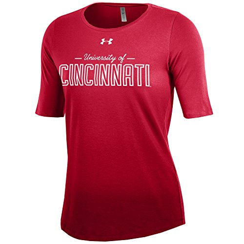 Cincinnati Classic Reds Shirt (Under Armour NCAA Cincinnati Bearcats Women's Dip Dye Short Sleeve Tee, Medium, Red)
