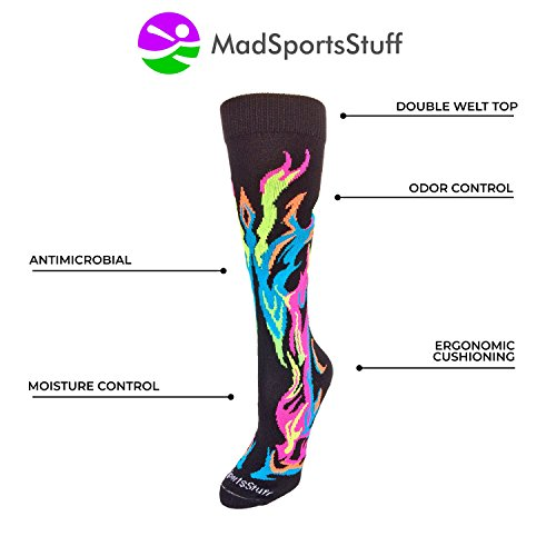 MadSportsStuff Flame Socks Athletic Over the Calf Socks (Royal/Red/Gold, Medium) by MadSportsStuff (Image #2)