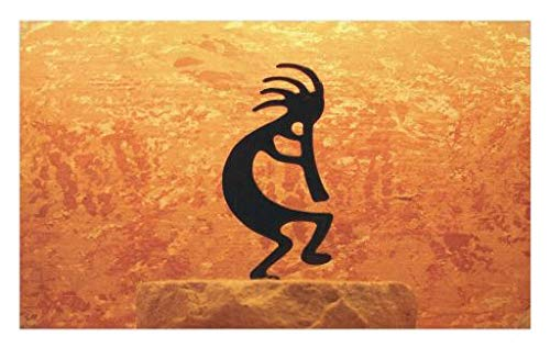 - Lunarable Kokopelli Doormat, Kokopelli Southwestern Style Native American Eastern Ancient Belief Picture Art, Decorative Polyester Floor Mat with Non-Skid Backing, 30 W X 18 L Inches, Orange Black