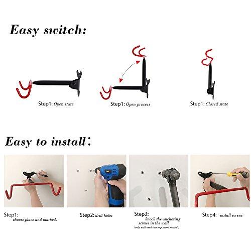 PHUNAYA Bike Hanger Wall Mount Bike Holder Horizontal Foldable Bicycle Hook for Garage BIke Storage Bicycle Hoist Heavy Duty (2 Pack), With Spare Screws by PHUNAYA (Image #3)