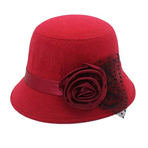 CEFULTY Women's Hat Flower Dome New Year's Day Gift Pot Cap with Gauze Wool Cap (Color : Red, Size : 55-57cm)