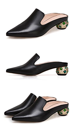 Sandals Slippers Mid Ms and ZCJB Half Wear Heel Slippers Outer Leather No Heel Black Drag Baotou Fashion Pointed rzgrqwa