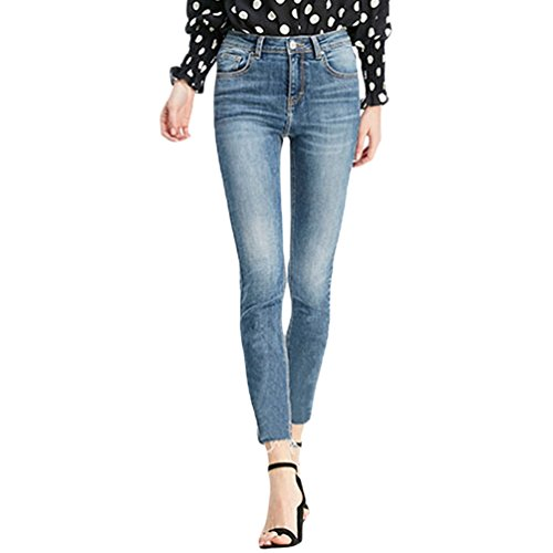 ZhiYuanAN Femme Pantalon En Denim Stretch Casual Slim Fit Push Up Jeans Bleu Marine