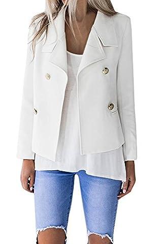 Beautife Women's Double-Breasted Long Sleeve Tailored Office Work Black Wool Blazer Jacket (Long Sleeve Office)