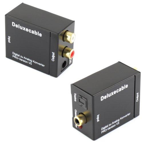 Audio Konverter Wandler Digital (Toslink und Koaxial) zu Analog (Cinch) - Digital zu Analog Audiowandler mit Netzteil und Toslinkkabel