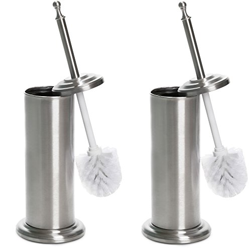 less Steel Toilet Brush and Holder, 2 Pack ()