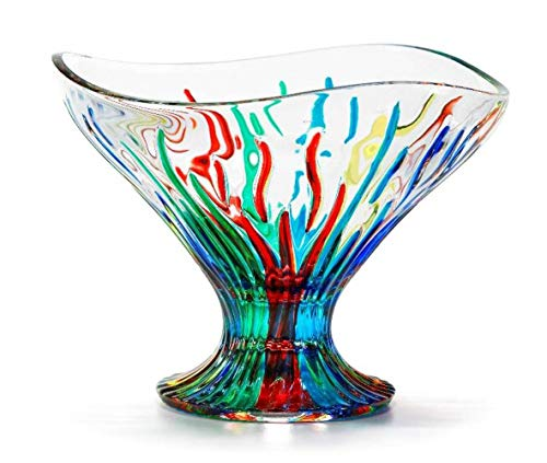 Murano Glass Fire Bowl, Compote (Glass Compote Art)