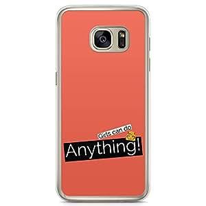 Samsung Galaxy S7 Transparent Edge Phone Case Girl Anything Phone Case Girl Power Phone Case Women Power Samsung S7 Cover with Transparent Frame