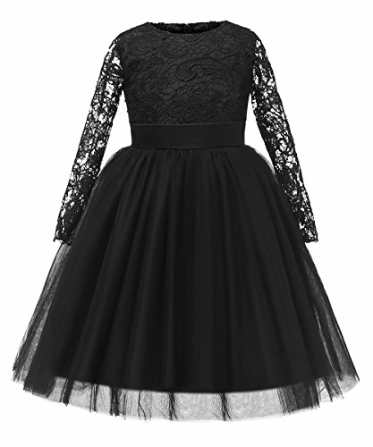 Flower Girl Dress Long Sleeves Lace Top Tulle Skirt Kids First Communion Gowns (Size 8, 03 Black)]()