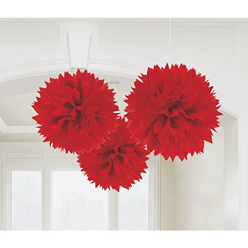 S-shine Set of 3 Tissue Pom Poms Party Decorations for Weddings, Birthday Parties Baby Showers and Nursery Décor (16-inch Diameter, Bold Red)