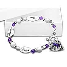 Purple Ribbon Bracelet- Hope, Strength, Courage (Retail)
