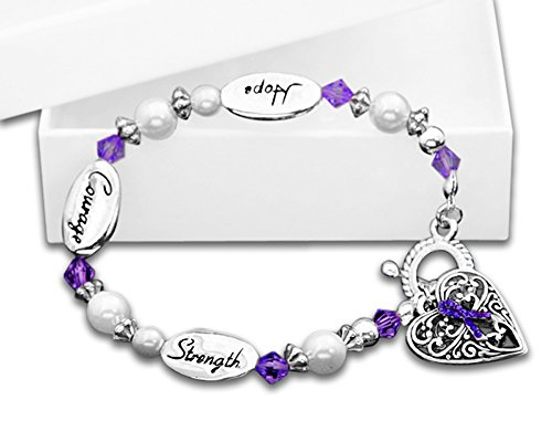 Domestic Violence Awareness Purple Ribbon Bracelet in a Gift Box (1 Bracelet - Retail) (Hope)