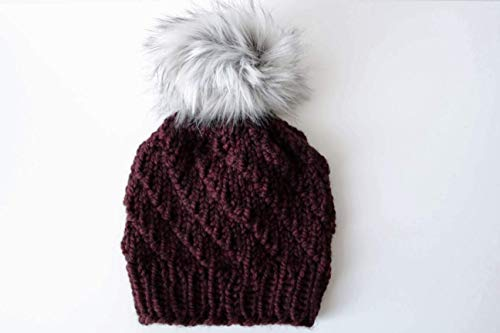 (Knit Spiral Stitch Beanie Hat with Faux Fur Pom Pom (Adult). Handmade in Burgundy, Chunky, Wool Yarn.)
