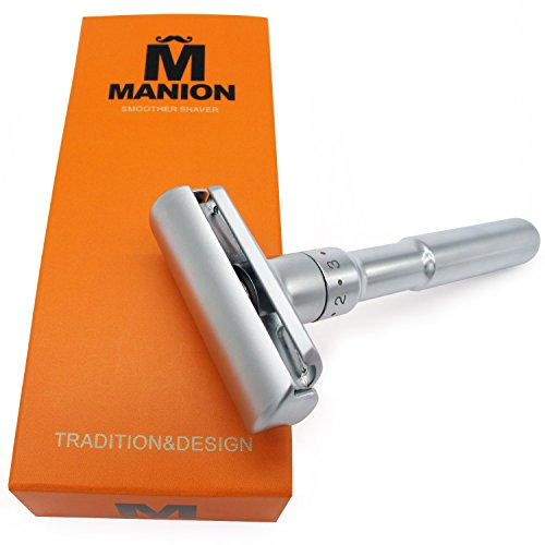 MANION M5 Matte Silver Long Handel Adjustable Double Edge Classic Safety (Adjustable Safety Razor)