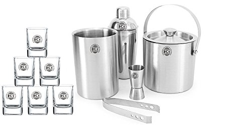 King International 100% Stainless Steel Bar Set | Bar Tools | Bar Accessories Set Of 11 Pieces Includes 6 Shot Glasses | Ice Bucket | Tong |Cocktail Shaker | Peg Measurer | Wine Cooler | by King International