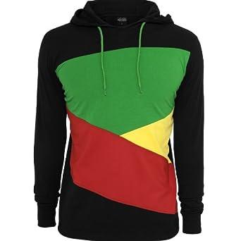 9d7abae09256f Urban Classics - Sweat-shirt à capuche - Homme multicolore Noir/Rouge/Jaune