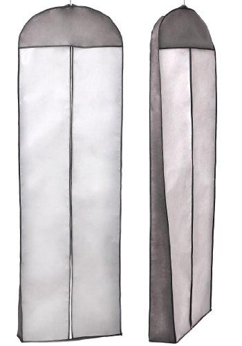 Atmungsaktiver Kleidersack Schutzhülle für Brautkleider / Abendkleider / Anzüge / Mäntel - ca. 180 cm - Reissverschluss - Weiß mit Schwarzer Rahme, KXB-105 Schwarz