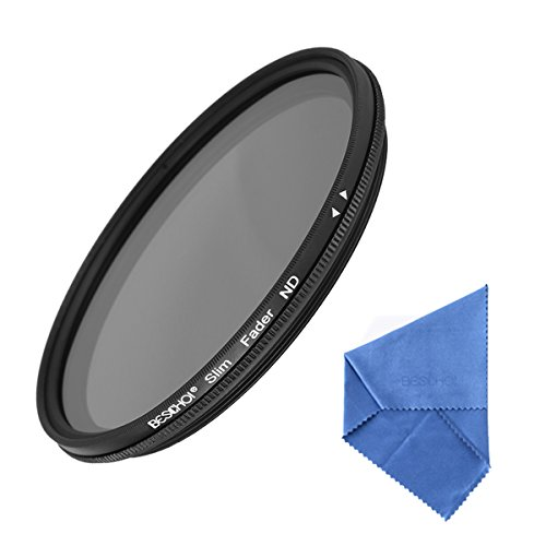 Beschoi 46mm ND Filter Slim HD Multi-Coated Variable Neutral Density Adjustable Filter ND2 to ND400 Lens Filter with Lens Cleaning Cloth for DSLR Cameras (Cine Light Stand)