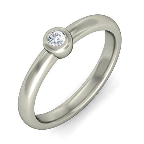 14K Or blanc, 0.07carat Diamant Taille ronde (IJ | SI) en diamant