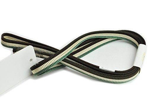 ラテン解説格差三分紐 帯留め通しておしゃれに使う 帯〆 緑と金と茶で縞織