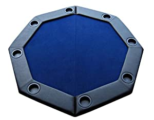 Padded Octagon Folding Poker Table Top With Cup Holders   Blue Color