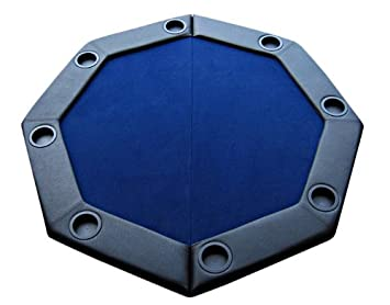 Awesome Padded Octagon Folding Poker Table Top With Cup Holders   Blue Color