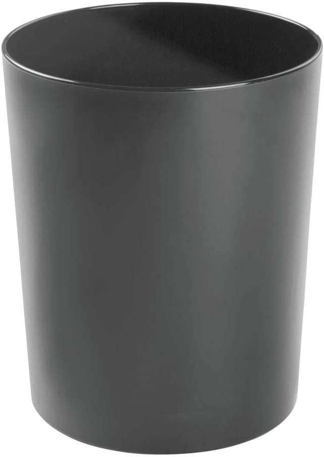 mDesign Round Metal Small Trash Can Wastebasket, Garbage Container Bin for Bathrooms, Powder Rooms, Kitchens, Home Offices - Durable Steel - Black